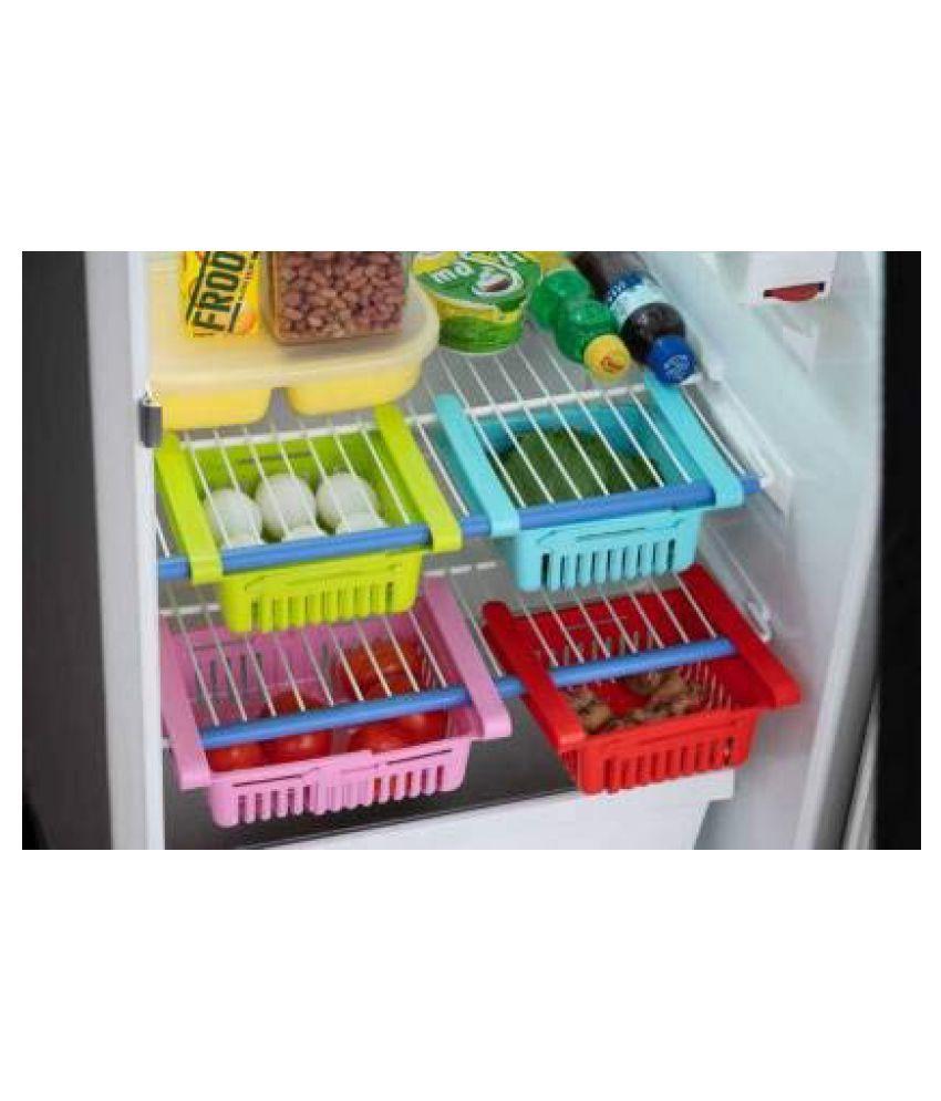 GLORIOUS New Adjustable Fridge Storage Basket, Fridge Racks Tray Sliding Storage Racks Fruits/Vegetables Kitchen Rack  Plastic   Set of 4