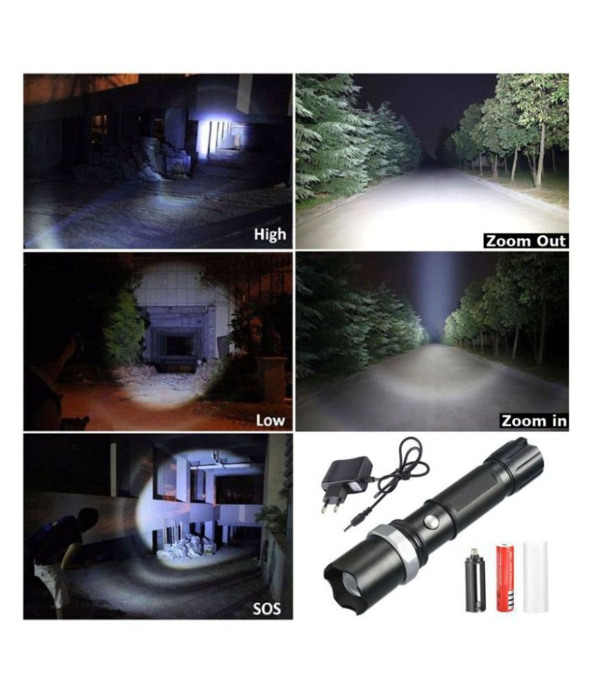 SJ 7W Flashlight Torch 400M Zoomable - Pack of 1