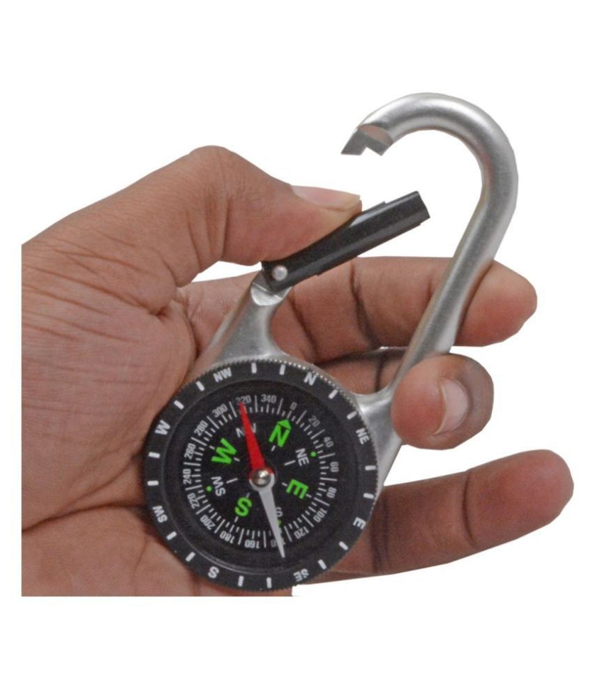 2 in 1 Multi-functional Outdoor Camping Hiking Travel Mini Compass Carabiner