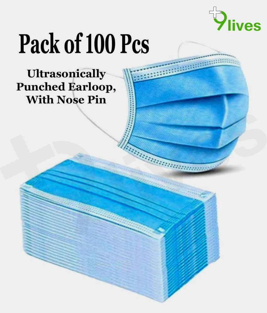 9Lives ,With Nose Pin 3 Ply Anti Pollution Face Mask - 100 Pcs