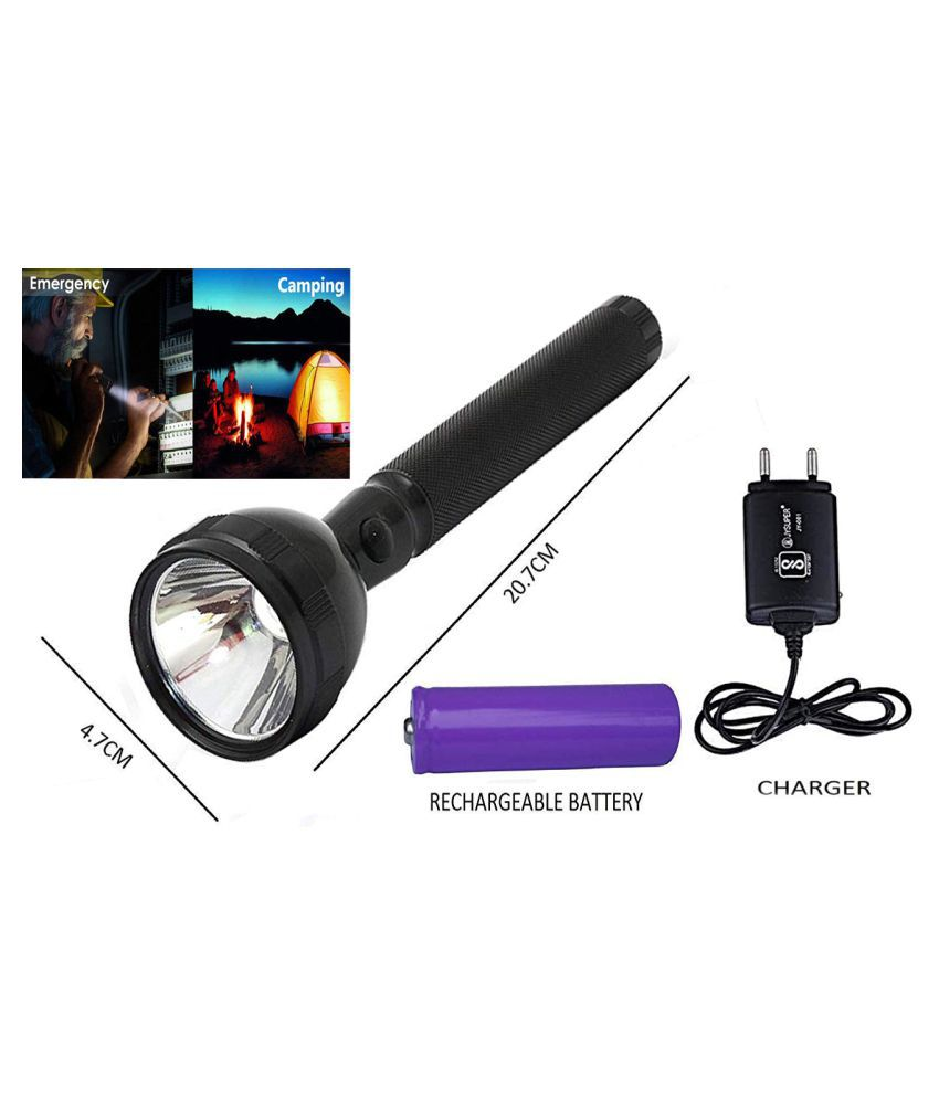 GA High power flashlight rechargeable led torch 12W Flashlight Torch - Pack of 1
