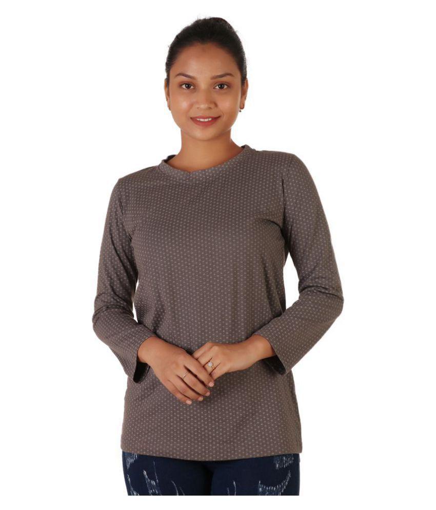 Leean Patterns Cotton Grey T-Shirts