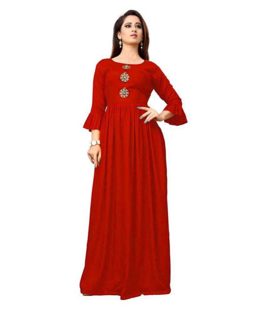 Frionkandy Rayon Red Regular Dress