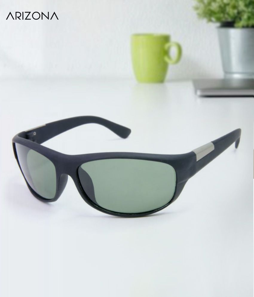 Arizona Sunglasses - Green Plastic (Polycarbonate) lens sporty wraparound for Men