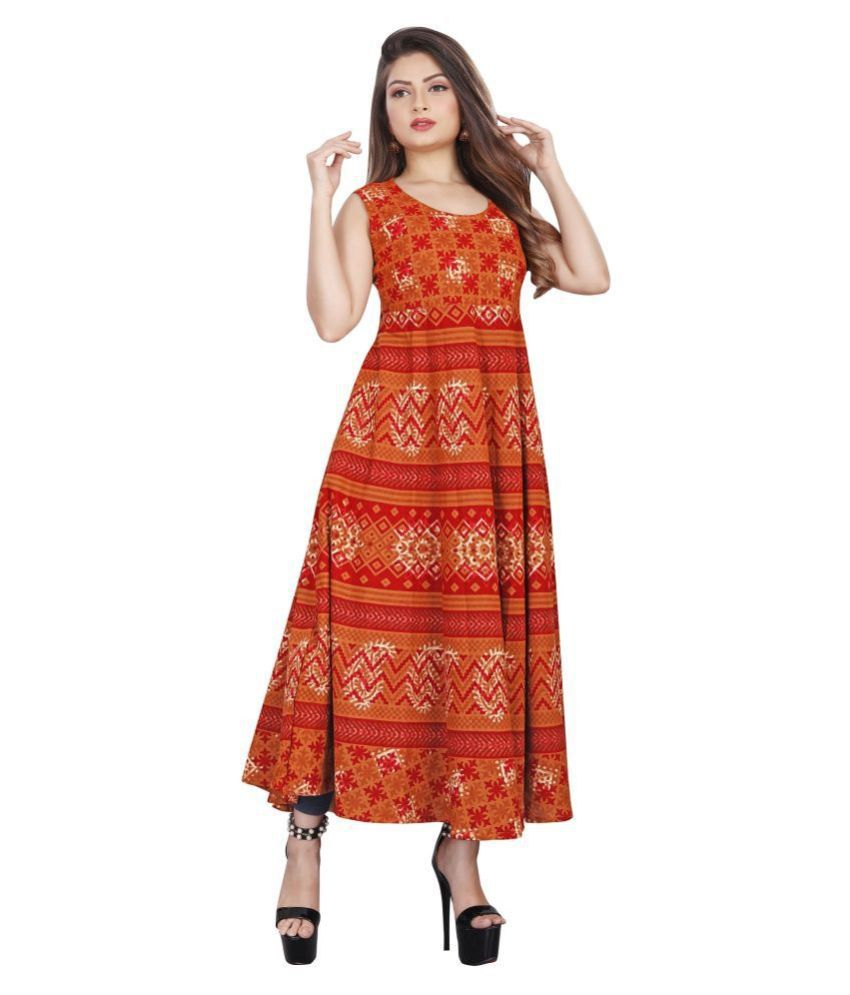 FASHION IMPEX Cotton Red A- line Dress