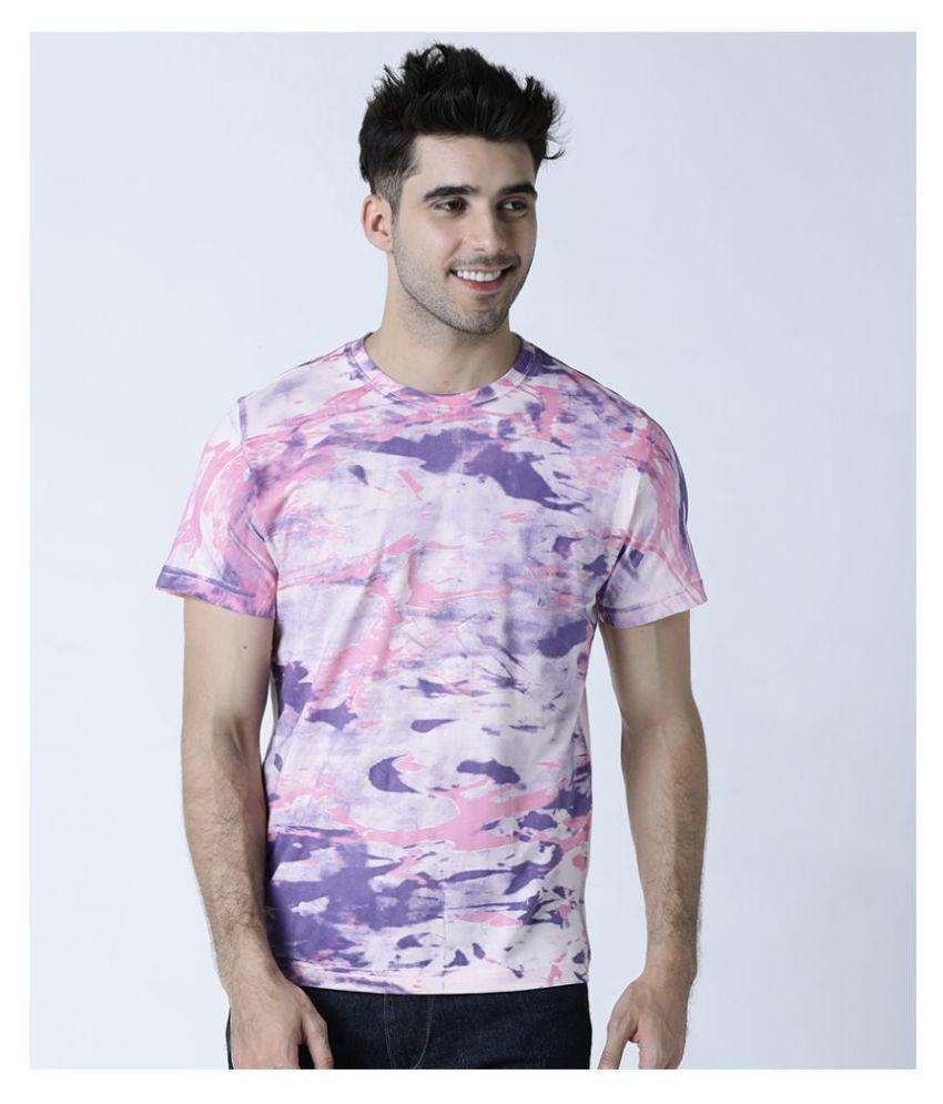 Huetrap 100 Percent Cotton Pink Printed T-Shirt