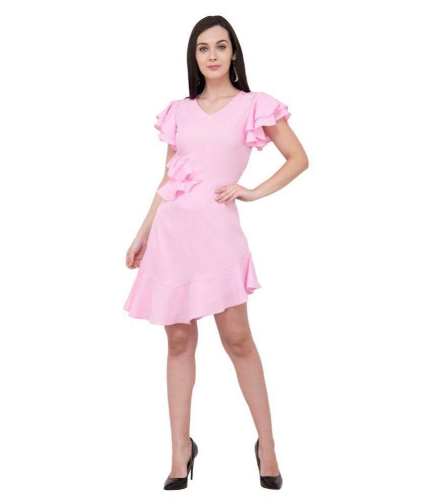 Karmic Vision Crepe Pink Regular Dress