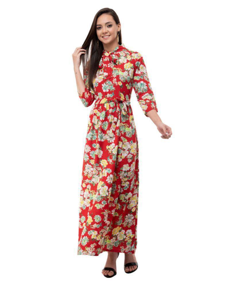 Karmic Vision Crepe Red A- line Dress