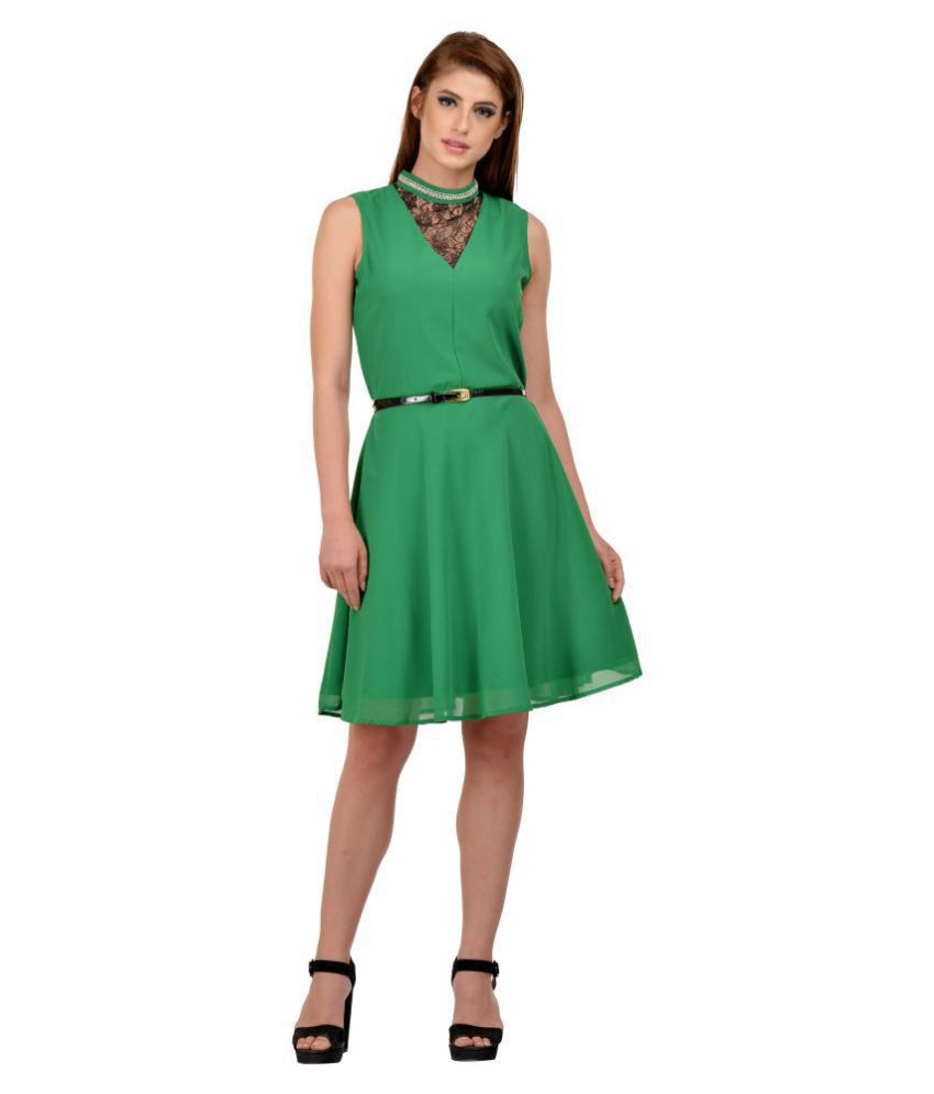 Karmic Vision Georgette Green Regular Dress