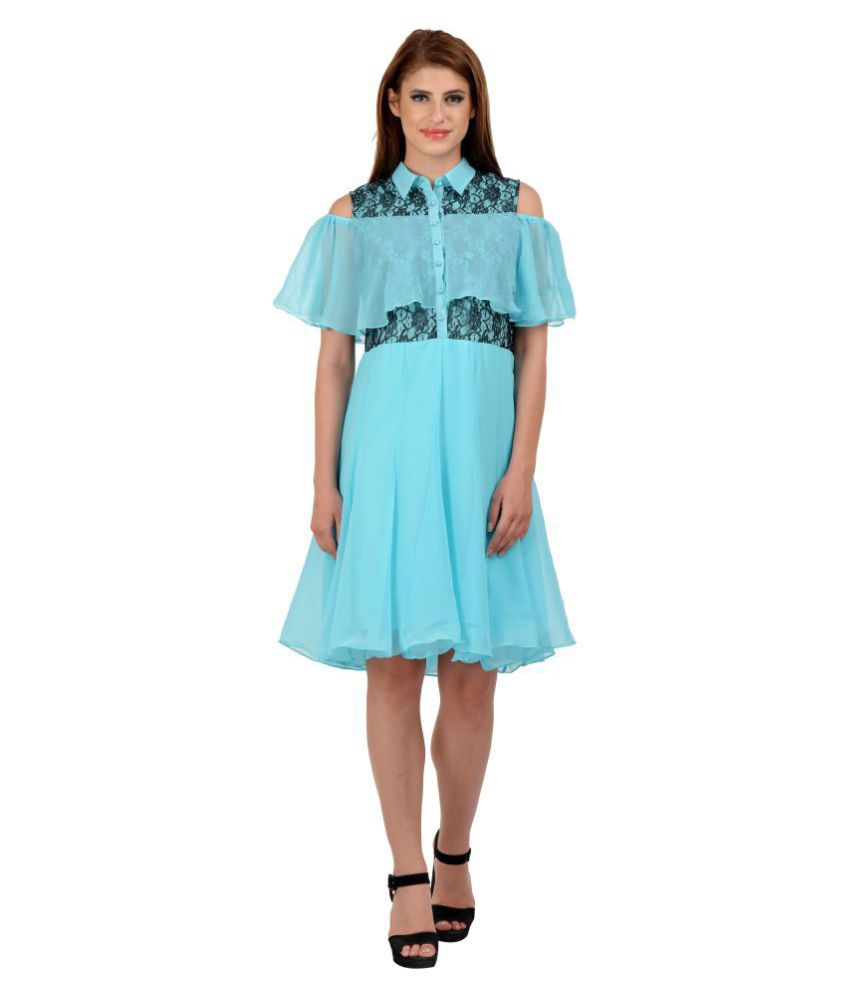 Karmic Vision Georgette Turquoise Regular Dress