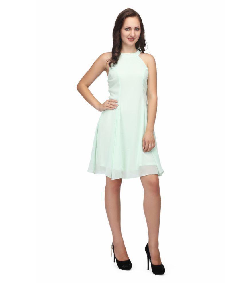 Karmic Vision Georgette Turquoise Regular Dress