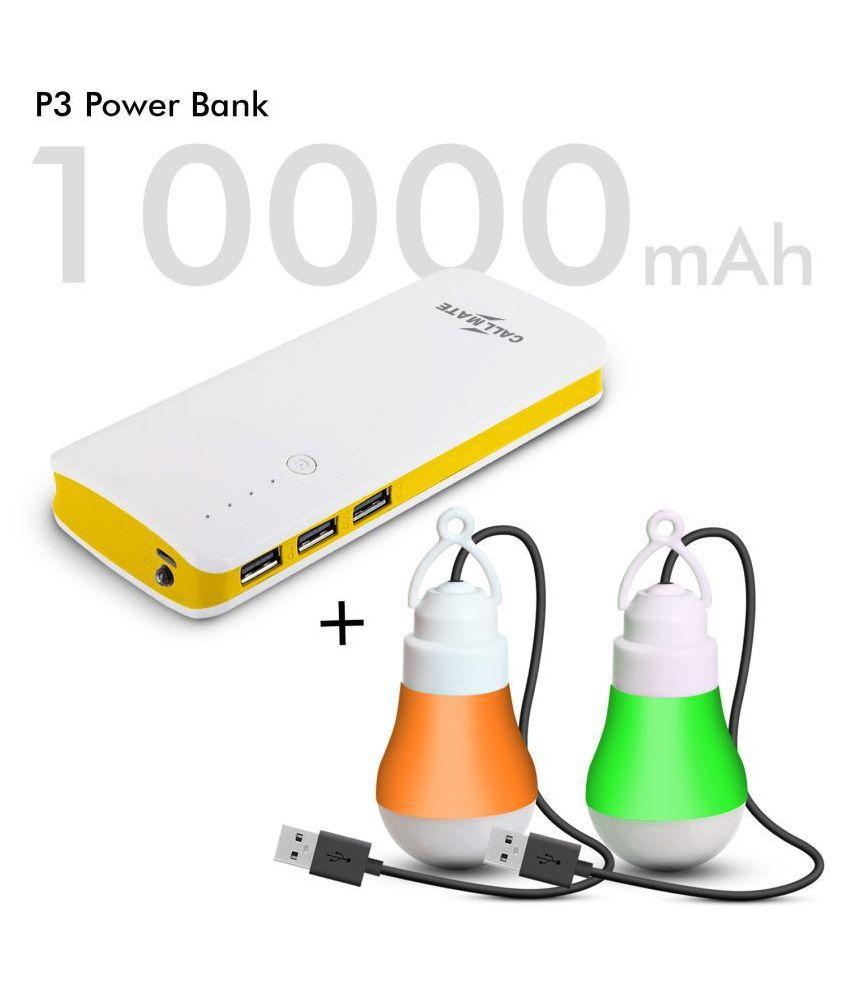 Callmate P3 & 2 LED USB BULB 10000 -mAh Li-Ion Power Bank Yellow