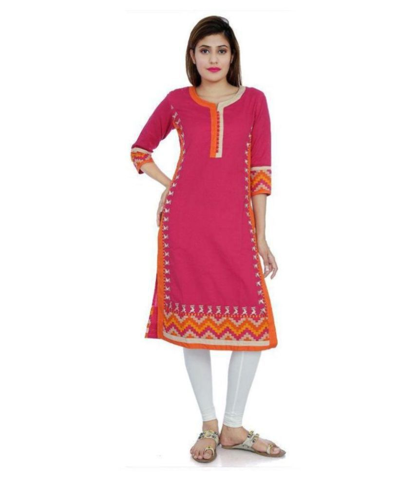 Divena Pink Cotton Straight Kurti