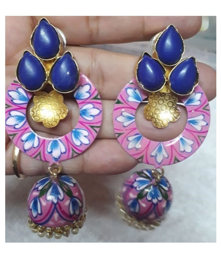 PINK AND BLUE JHUMKI