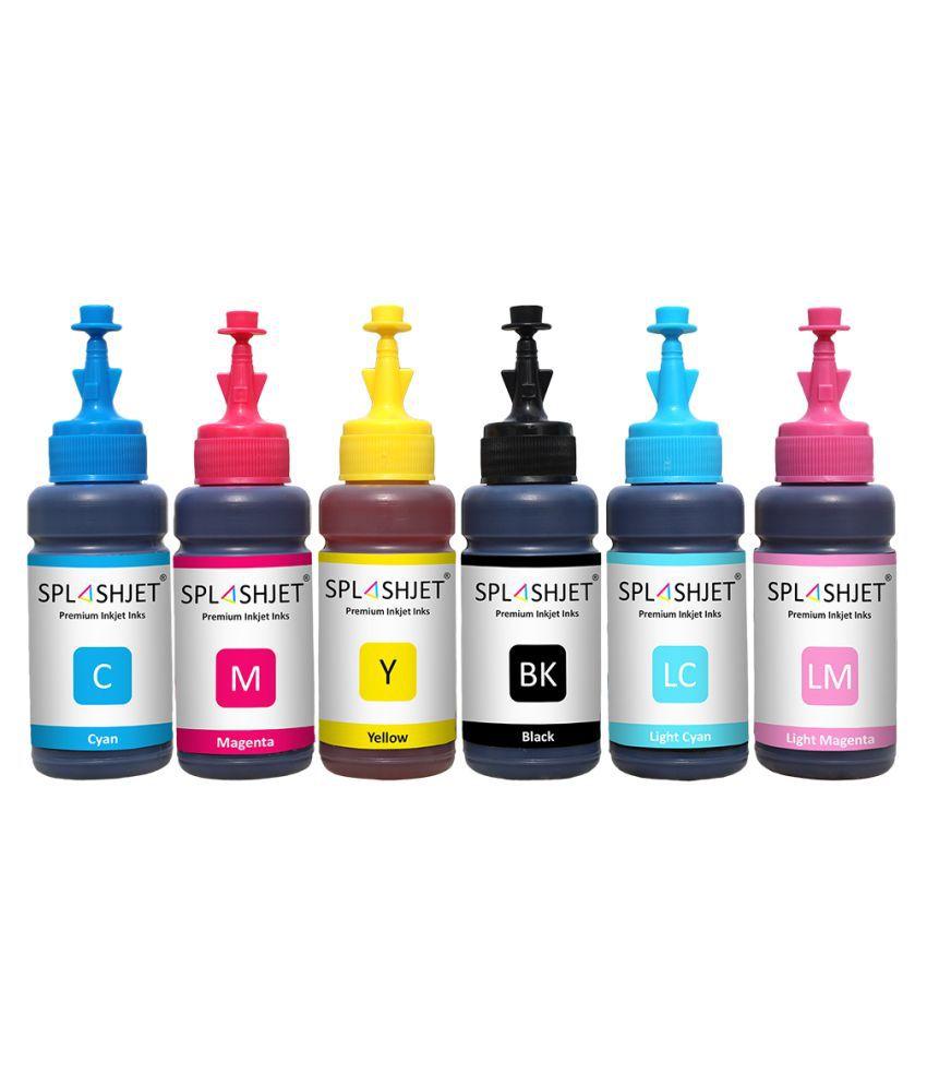 Splashjet Multicolor Pack of 6 Ink bottle for Epson L800, L805, L810, L850, L1800 Printer