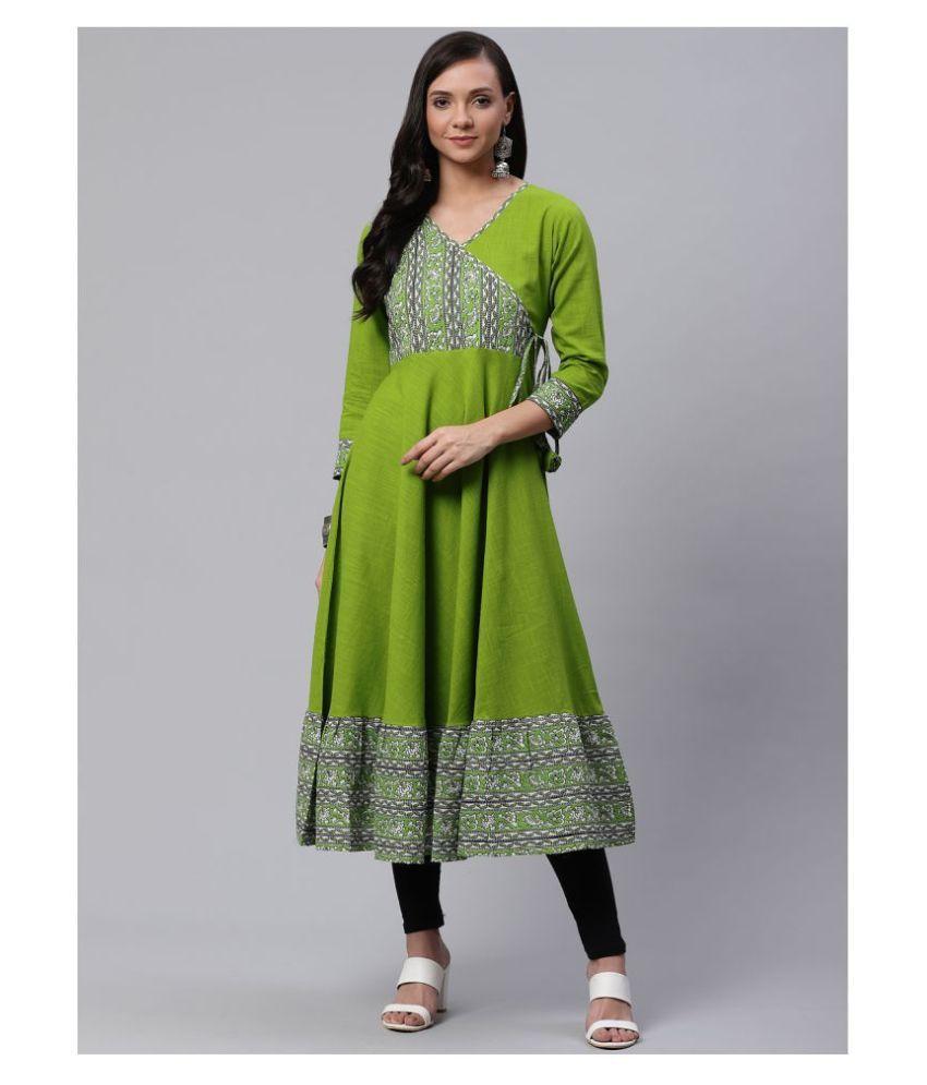 Yash Gallery Green Cotton Angrakha Kurti