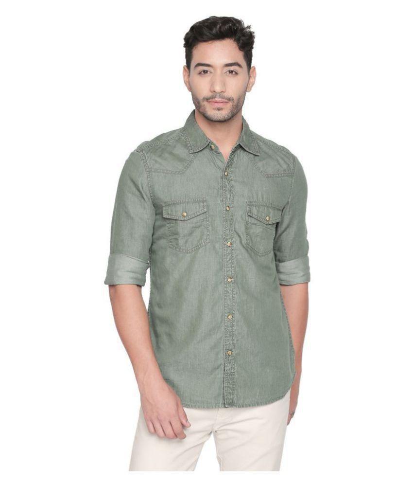 LION & HESS 100 Percent Cotton Green Shirt