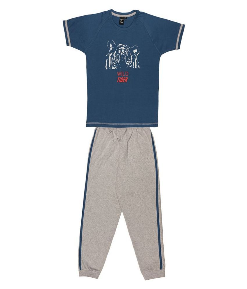 Todd N Teen Boys Cotton Tshirt, Casualwear, Loungewear, Clothing Set With Full Pant 7-8 years