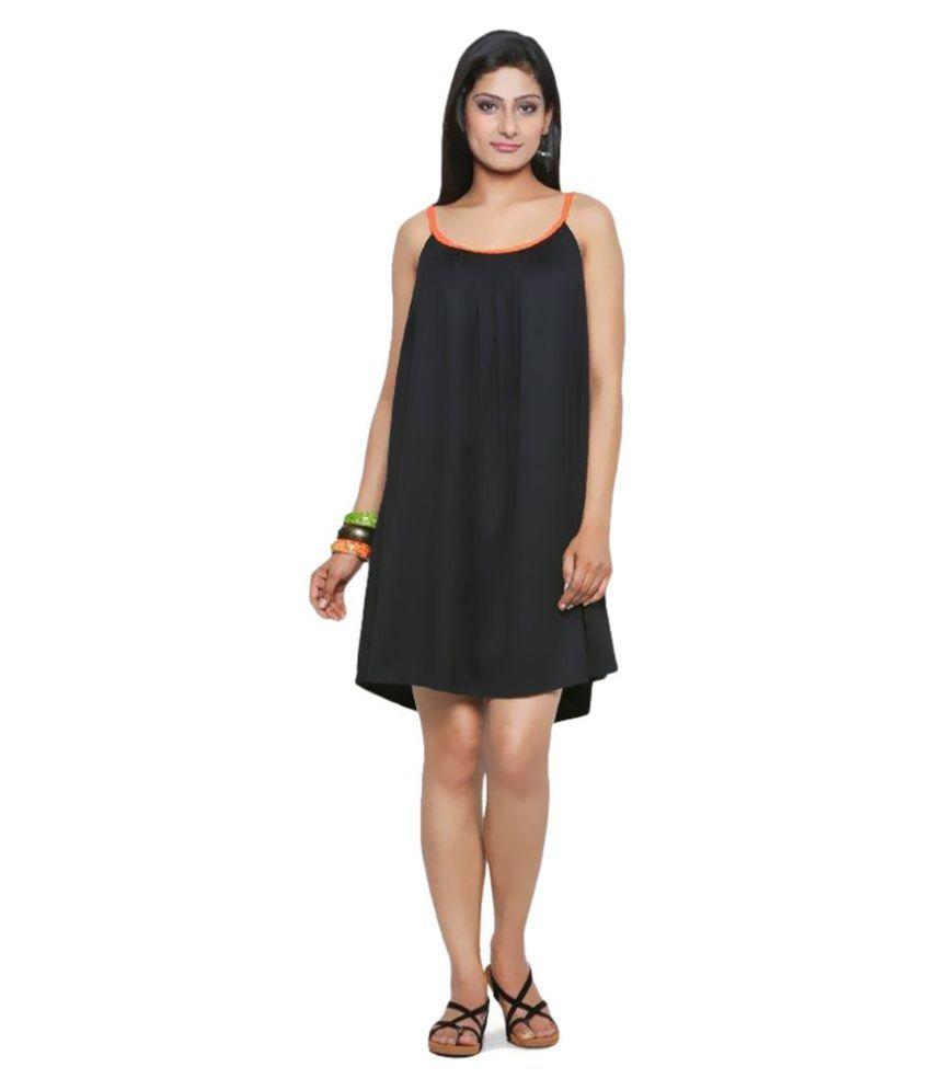 Five-Stones Cotton Black Regular Dress