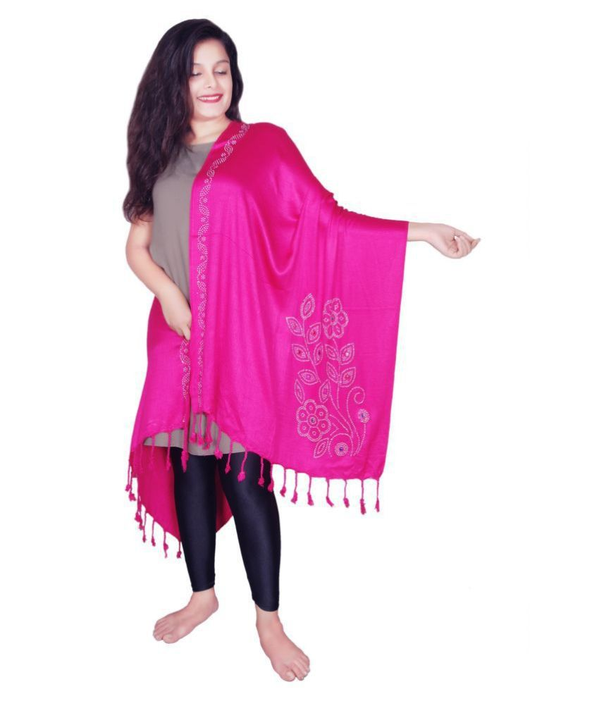 Wicked stitch Pink Solid Viscose Stoles