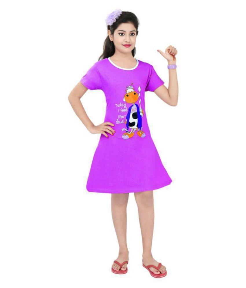 Todd N Teen Girls' Nighty, Sleep-Wear Of Pure Cotton In Round Neck And Half Sleeve\n