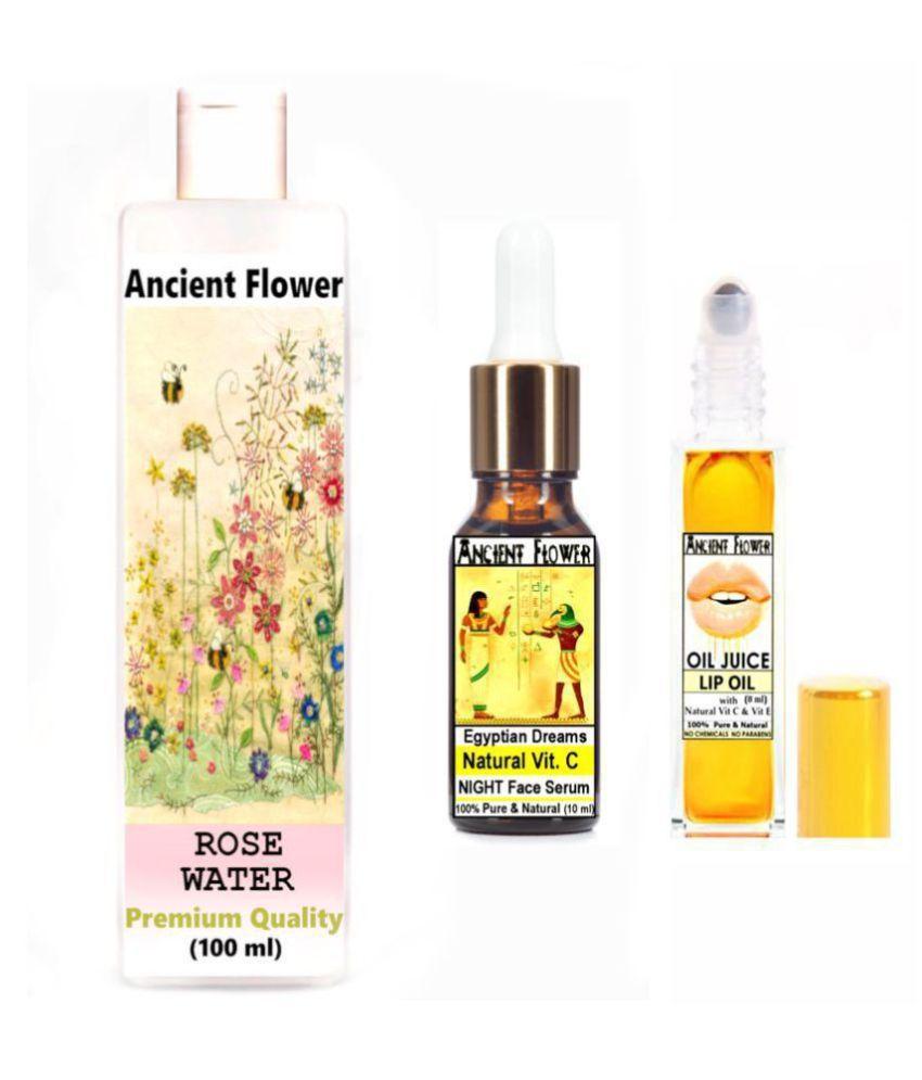 Ancient Flower - Rose Water, Oil Juice lip oil, Egyptian Dreams - Face Serum 118 mL