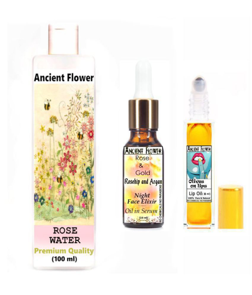 Ancient Flower Rose Water, Olive On Lips Lip Oil, Rose & Gold Face Serum 118 mL