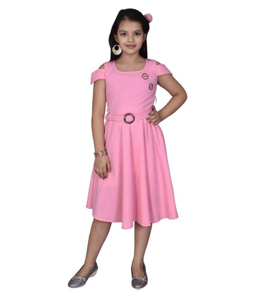 Sky Heights Middi Belt Pink Party Wear Dress For Girls.