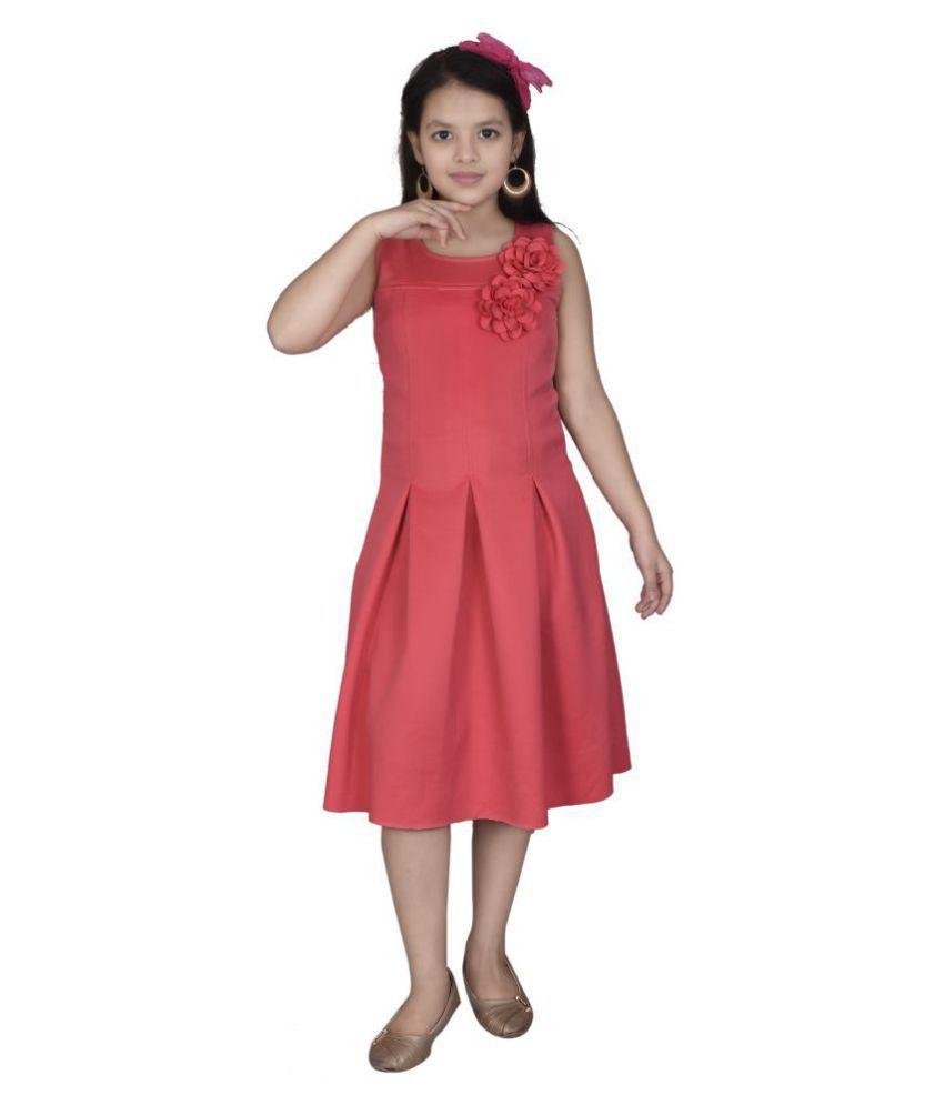 Sky Heights Scuba Platting Sleeveless Party Wear Dress For Girls.