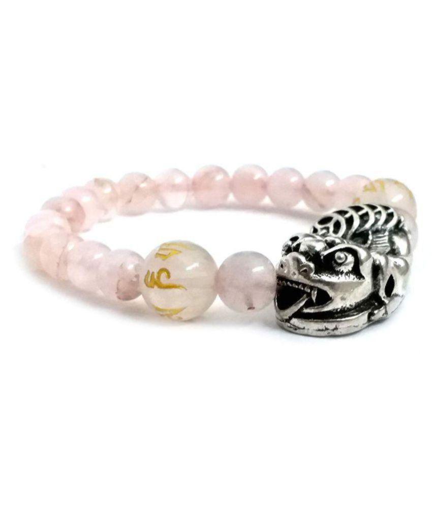 Pi Yao Rose Quartz OM MANI Padme HUM Engraved Tibetan Charm Bracelet