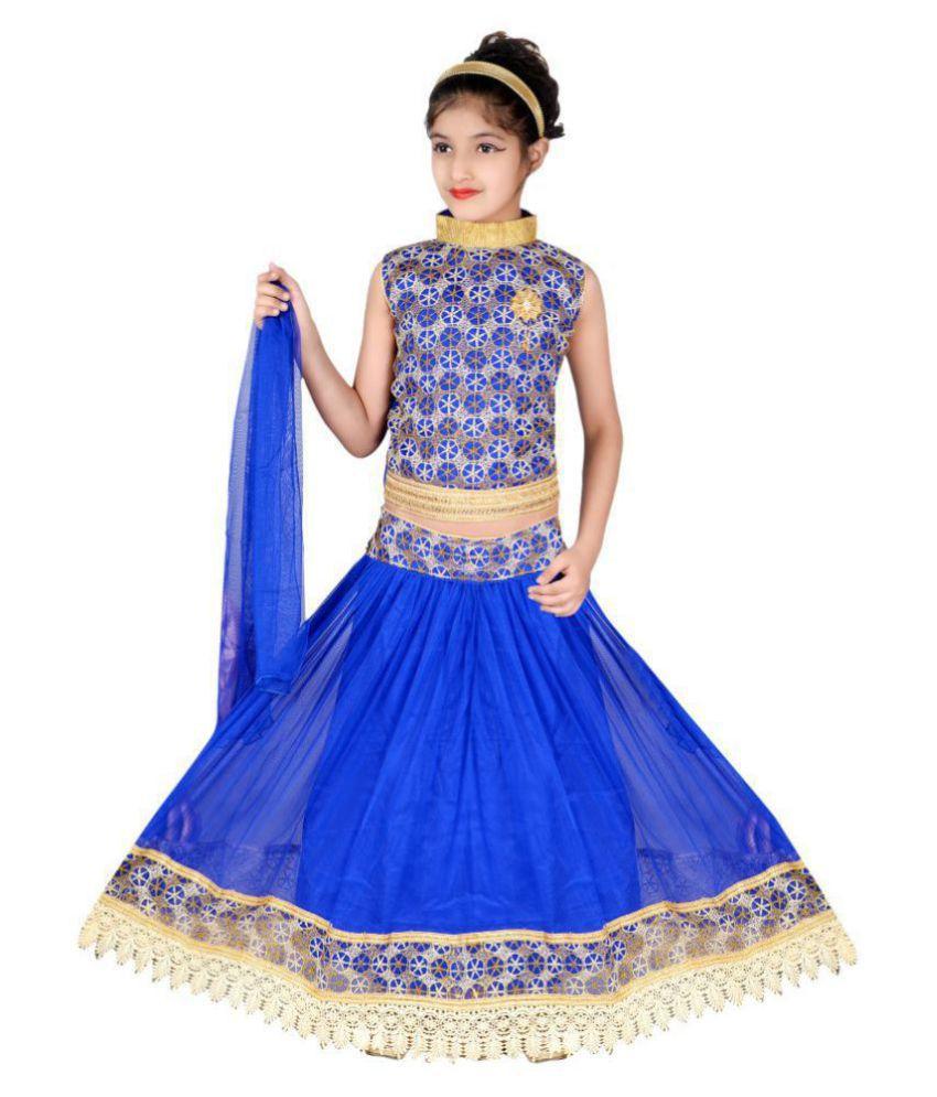 Sky Heights Girls Lehenga Choli Ethnic Wear Embroidered Lehenga, Choli and Dupatta Set  Blue, Pack of 1