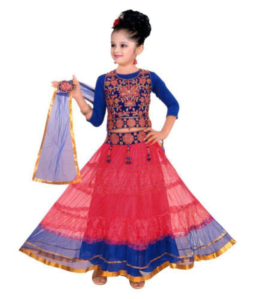 Sky Heights Girls' Red Net Lehenga Choli/ Ghagra (Ethnic Wear Dress for Kids) 8-9 years