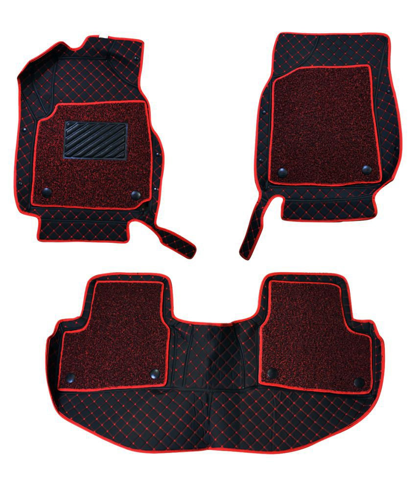 WIINE Leatherite 7D Car Mats For Volkswagen Touareg (2015) (Red)