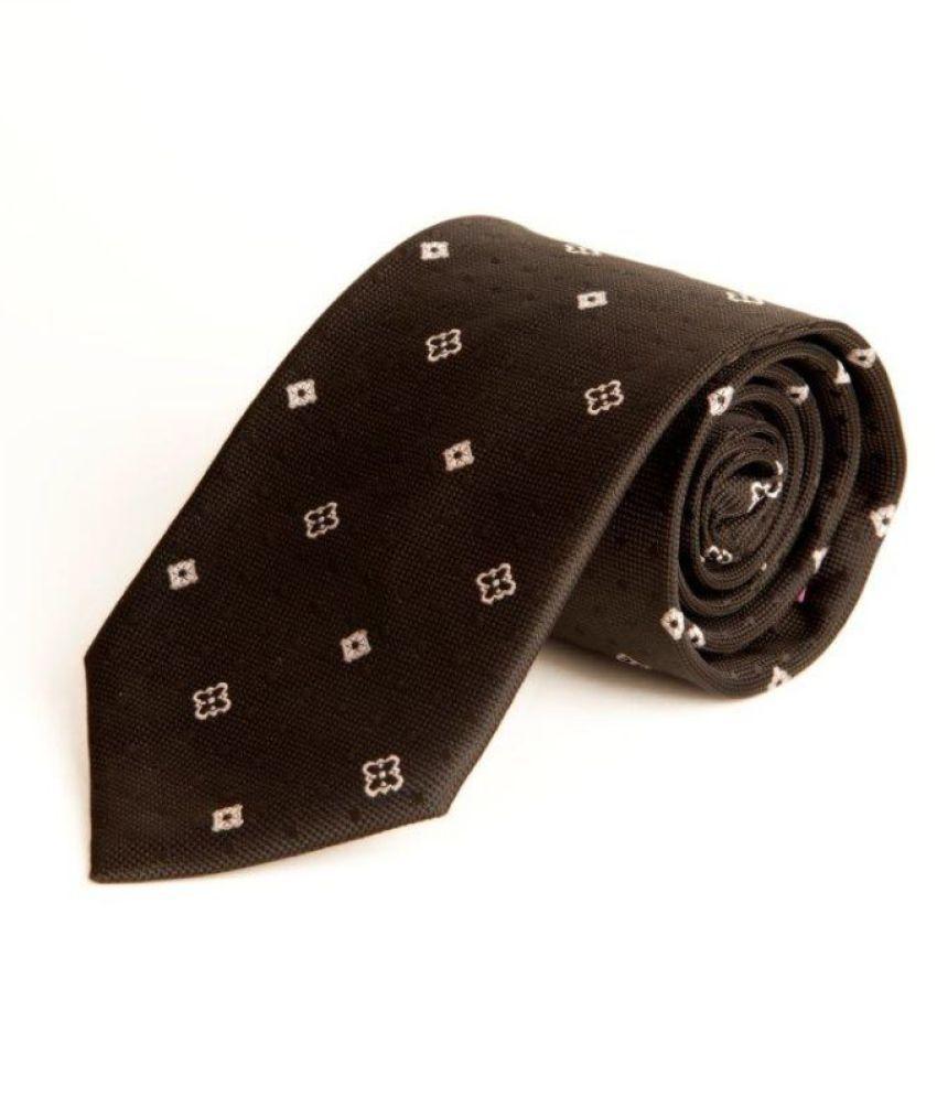 The Vatican Black Floral Micro Fiber Necktie