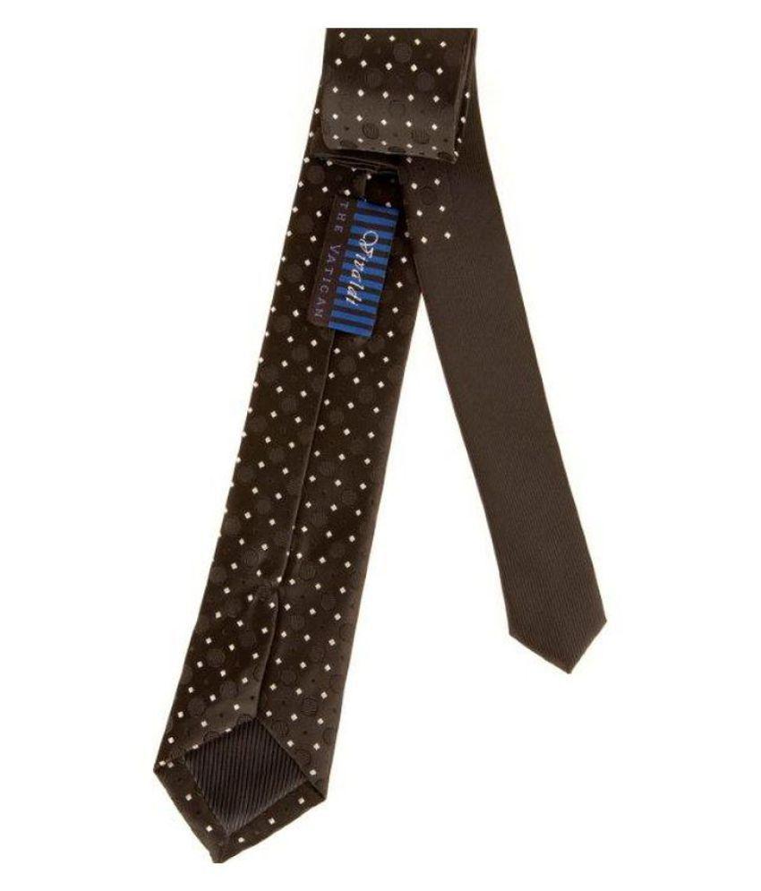 The Vatican Black Polka Dots Micro Fiber Necktie