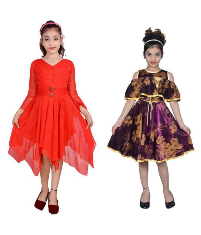 Sky Heights Girls Midi/Knee Length Combo Of 2 Party Wear dresses