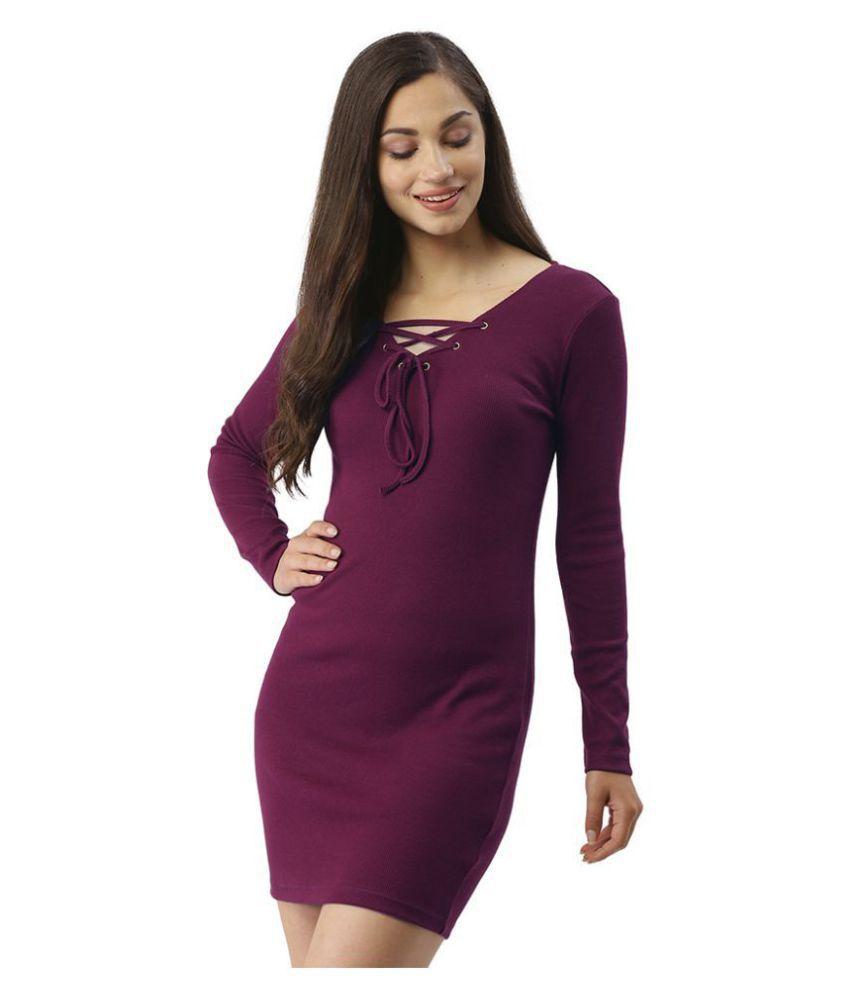 Trend Arrest Cotton Purple Bodycon Dress