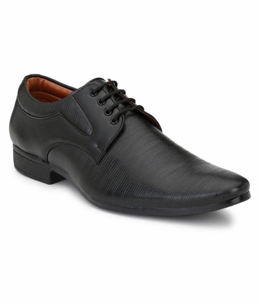 John Karsun Derby Artificial Leather Black Formal Shoes