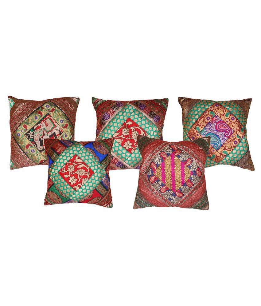 VINOD HANDICRAFTS Set of 5 Satin Cushion Covers 40X40 cm (16X16)