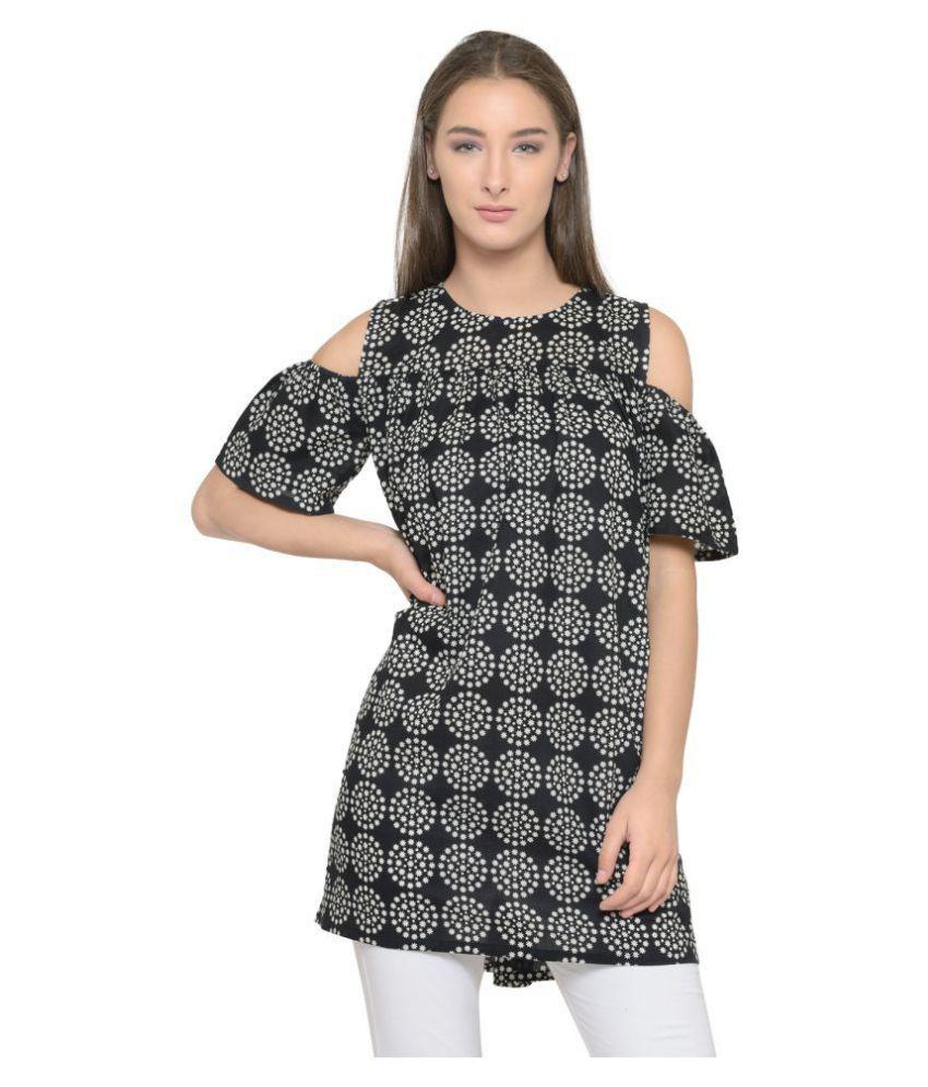 TUNIC NATION Crepe Black Regular Dress