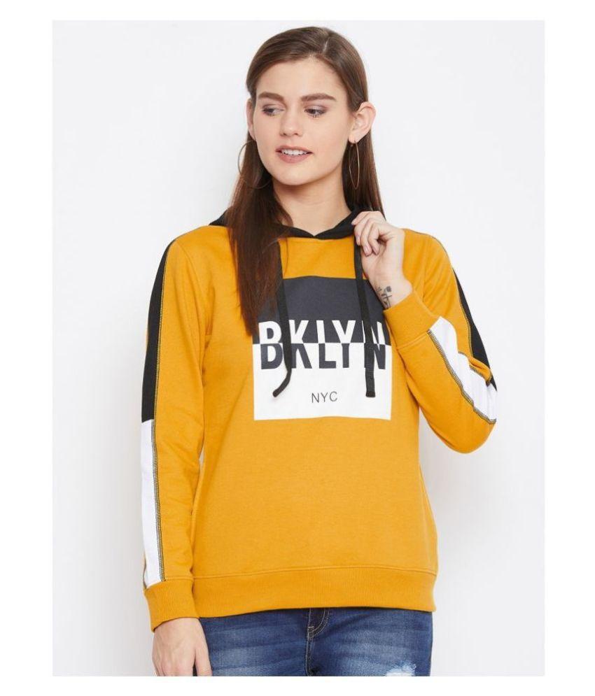 AUSTIN WOOD Poly Cotton Yellow Hooded Sweatshirt