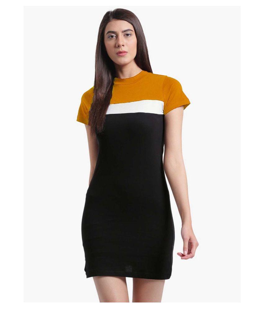 Velyoo Creation Cotton Lycra Multi Color Bodycon Dress