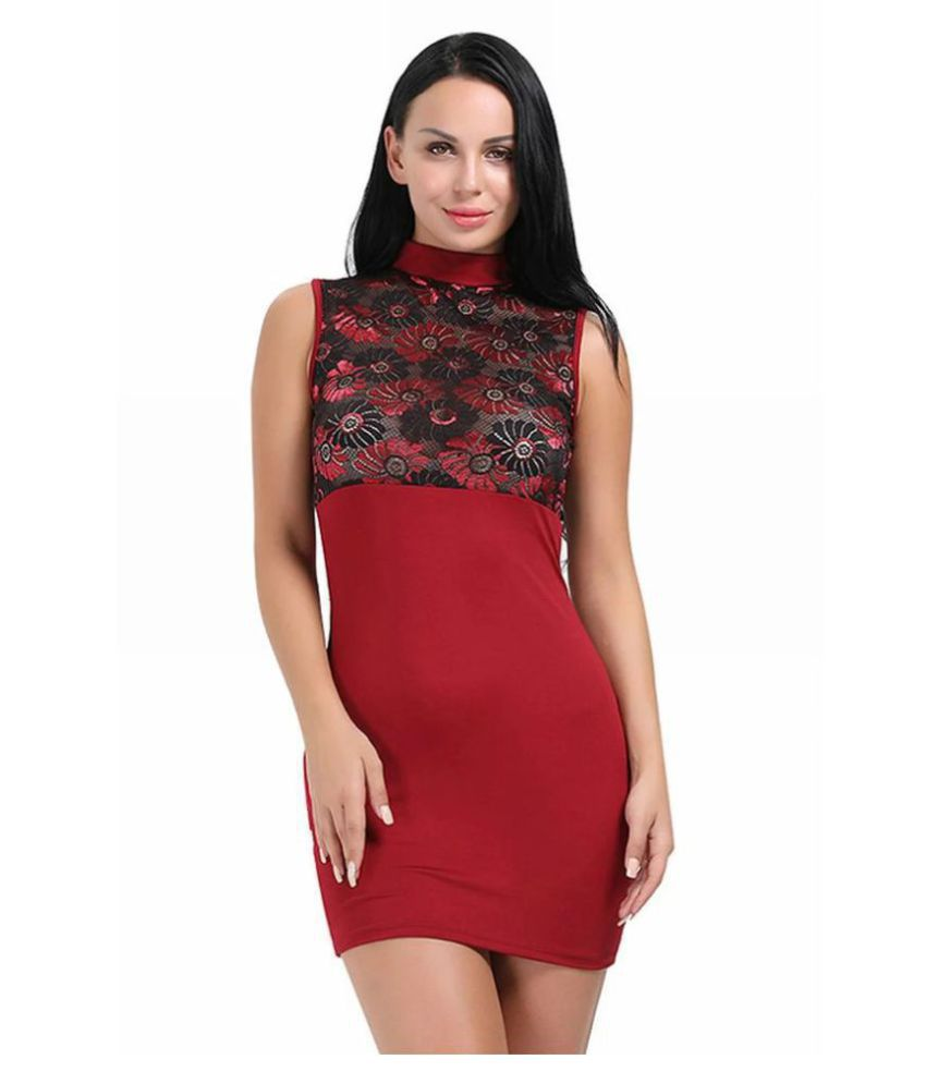 Cloe Valentine Polyester Red Bodycon Dress