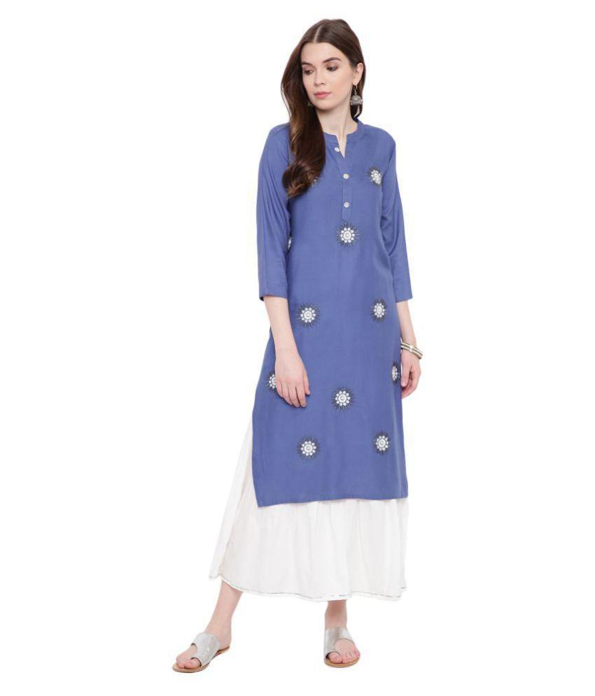 BI AMMA Rayon Kurti With Palazzo - Stitched Suit