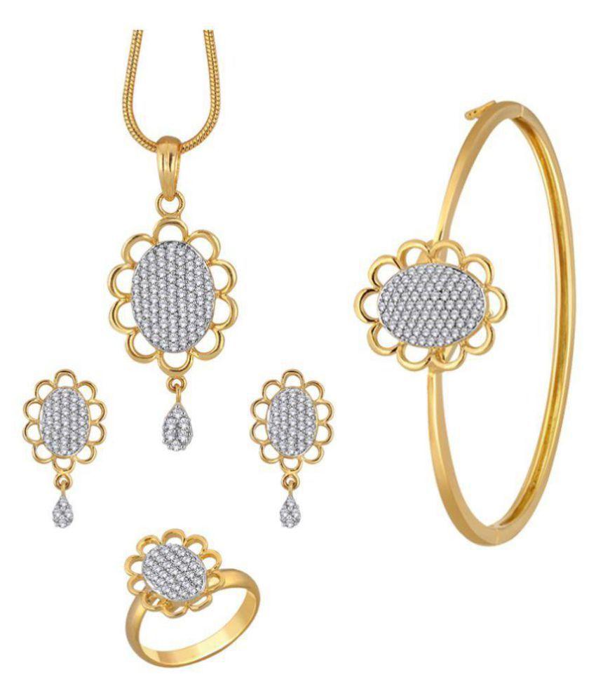Spargz Stylish Floral CZ Stone Gold Plated Pendant Set Kada & Studded Ring