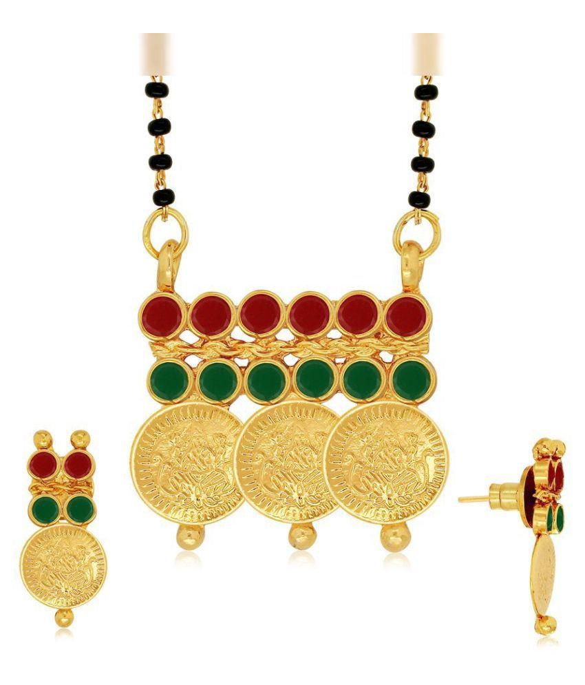 Spargz Brass Gold Plating Stones Studded Multi Coloured Mangalsutra Set