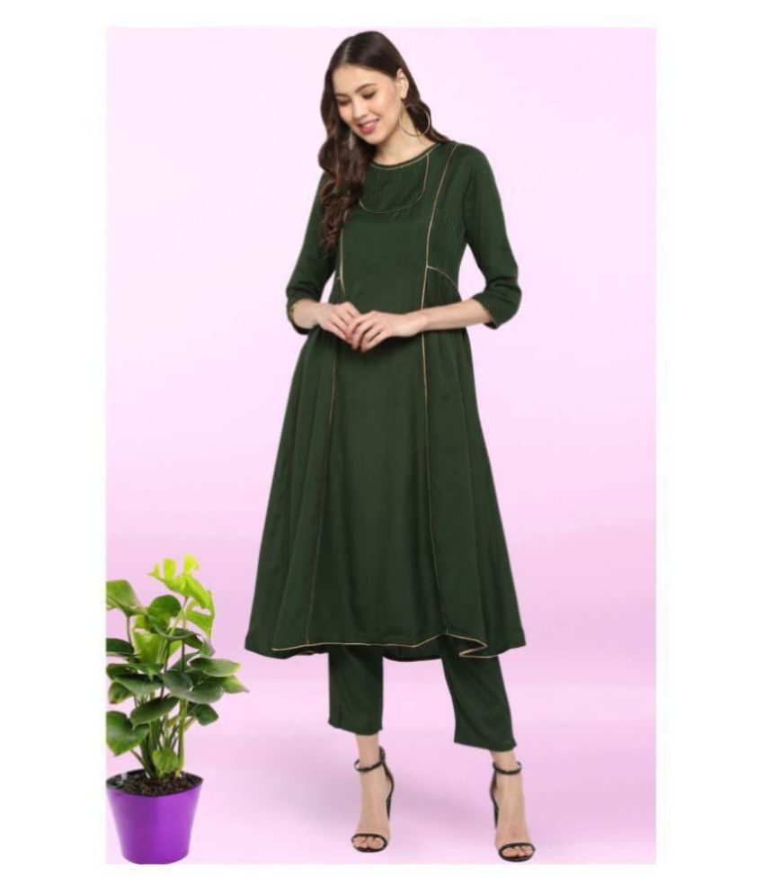 Janasya Rayon Kurti With Pants - Stitched Suit