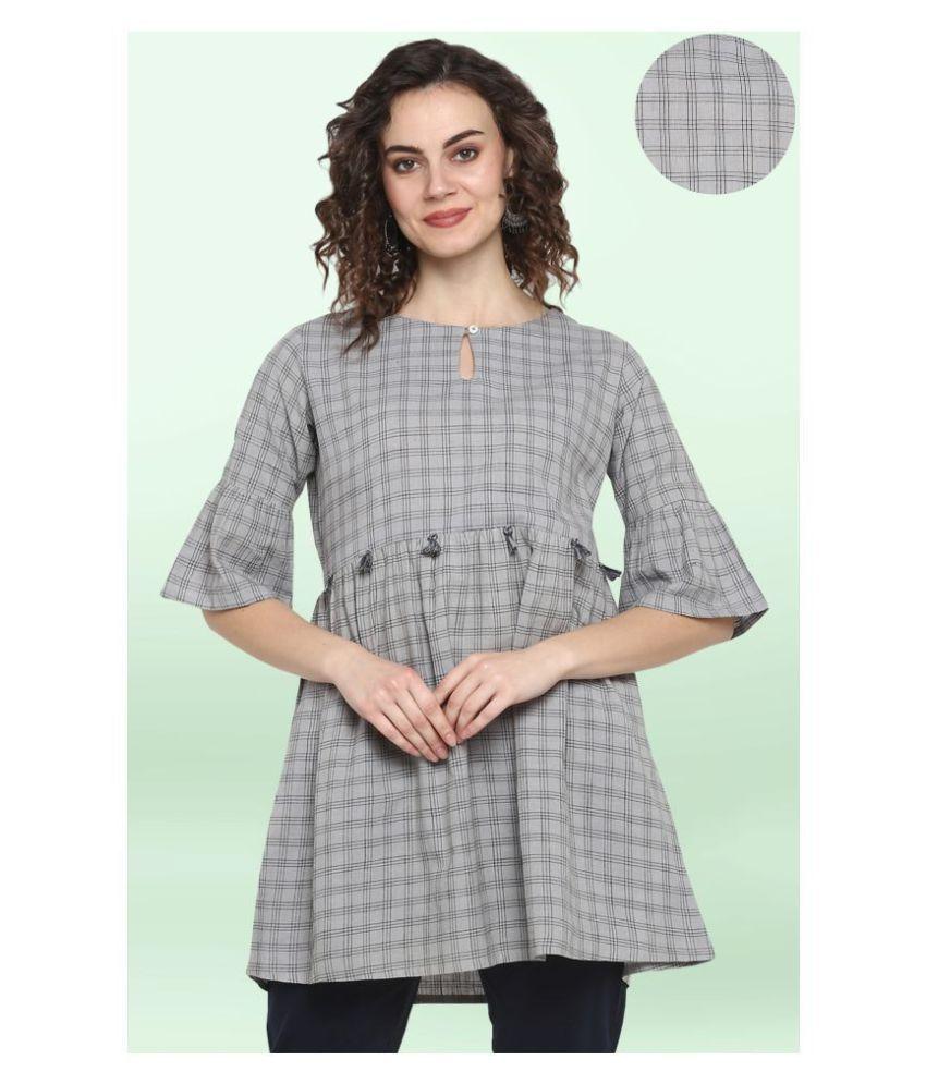 Janasya Cotton Tunics - Grey