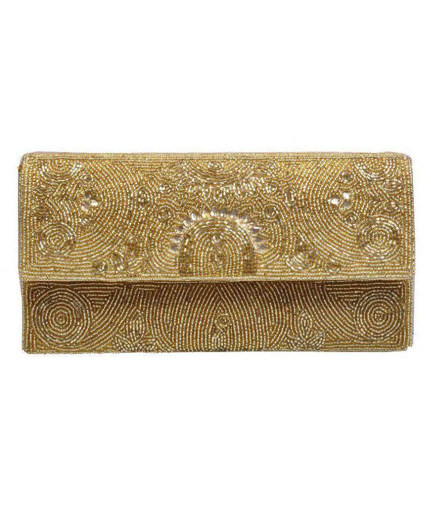 Duchess Gold Fabric Box Clutch