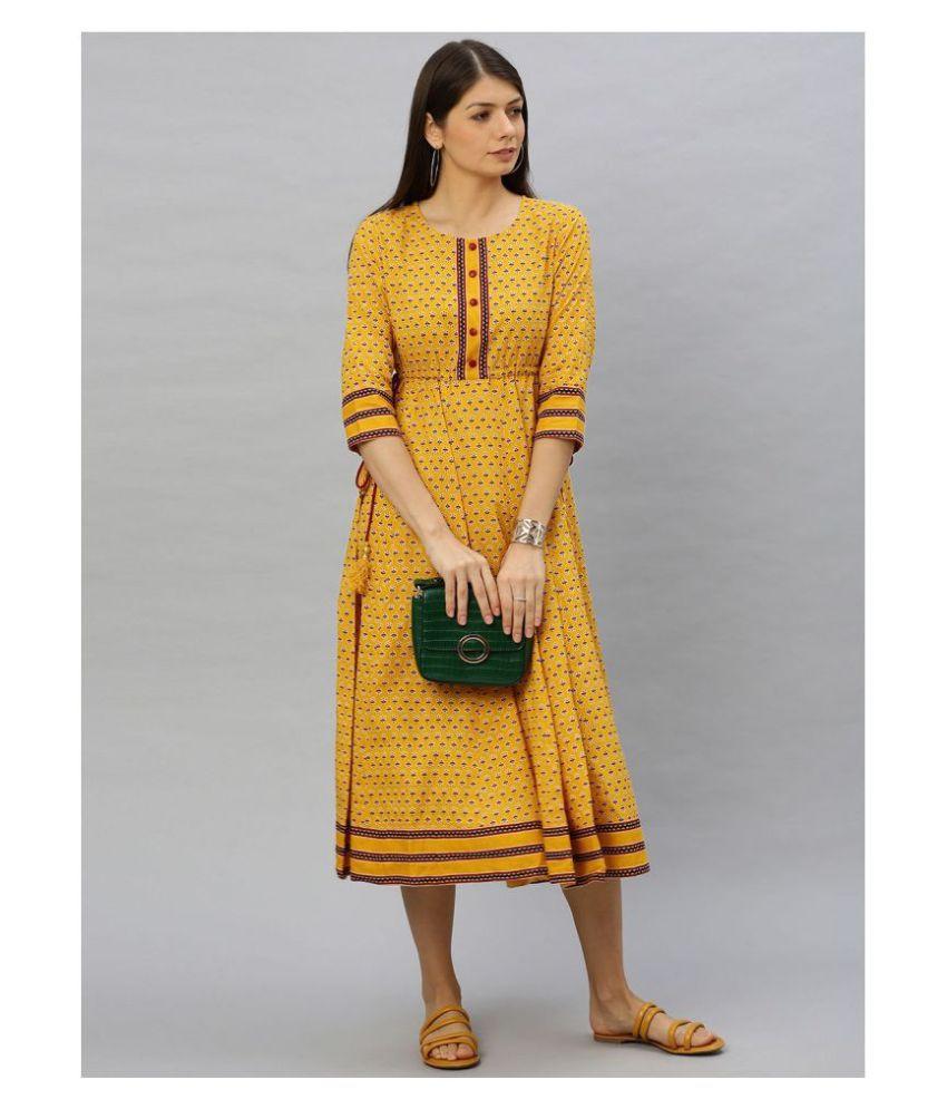 Yash Gallery Cotton Yellow Regular Dress